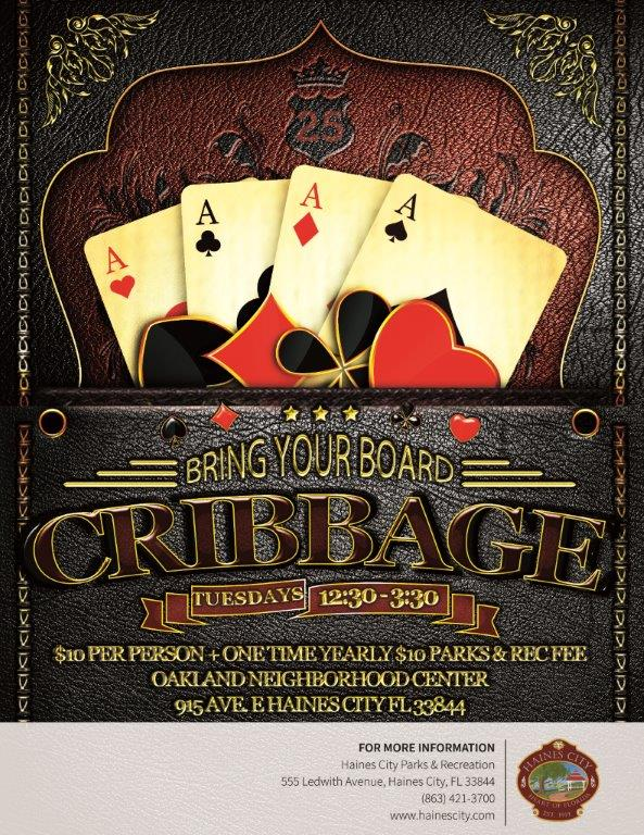 Cribbage played Tuesdays, 12:30 PM - 3:30 PM