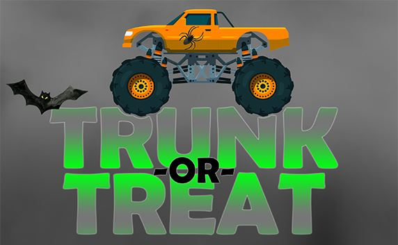 Trunk-or-Treat logo with monster truck and flying bat